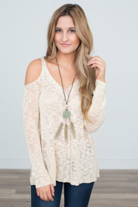 Light Weight Cold Shoulder Sweater - Cream