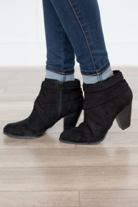 Braided Wrap Detail Bootie - Black - FINAL SALE