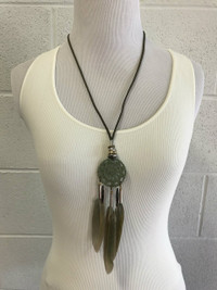 Dream Catcher Necklace - Olive -FINAL SALE
