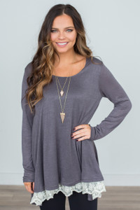 Renew Lace Trim Oversized Tunic - Charcoal - FINAL SALE
