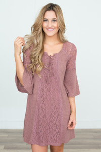 Lace Up Bell Sleeve Dress - Mauve