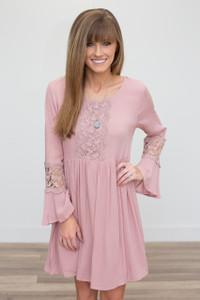 Crochet Detail Open Back Dress - Rose - FINAL SALE