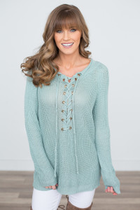 Light Weight Lace Up Sweater - Mint
