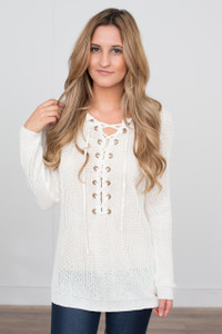 Light Weight Lace Up Sweater - Ivory
