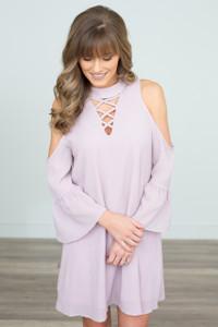 High Neck Cold Shoulder Dress - Dusty Pink