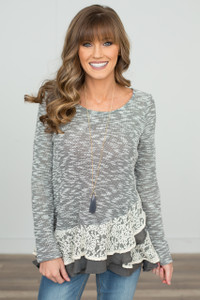 Ruffles and Lace Top - Charcoal