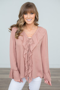 Ruffle Front Lace Up Blouse - Dusty Rose - FINAL SALE