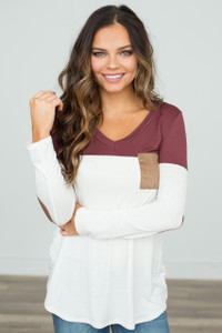 Color Block Tunic With Elbow Patch - Chesnut/White