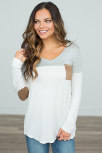 Color Block Tunic With Elbow Patch - Grey/White