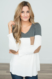 Color Block Tunic With Elbow Patch - Charcoal/White