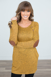 Button Detail Elbow Patch Tunic - Mustard