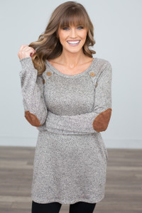 Button Detail Elbow Patch Tunic - Taupe - FINAL SALE