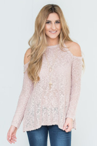 Cold Shoulder Lace Up Back Sweater - Dusty Pink-FINAL SALE