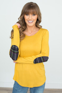 Plaid Elbow Patch Tunic - Mustard - FINAL SALE