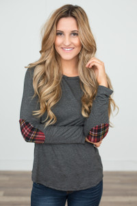Plaid Elbow Patch Tunic - Charcoal