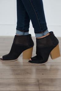 Stacked Heel Peep Toe Bootie - Black