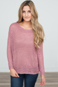 Lightweight Ribbed Sweater - Mauve - FINAL SALE