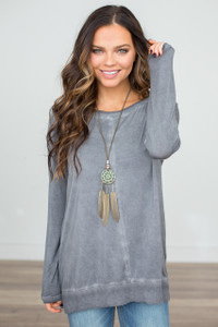 Long Sleeve Mineral Wash Tunic - Charcoal