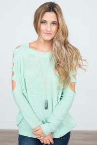 Cut Out Sleeve Sweater - Mint