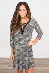 Camouflage Lace Up Dress - Olive