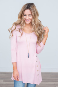 3/4 Sleeve Button Detail Tunic - Pink