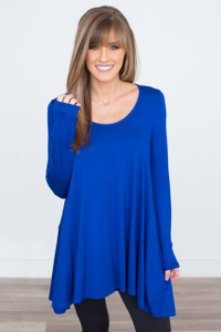 Long Sleeve Asymmetrical Tunic - Royal Blue