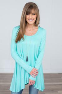Long Sleeve Asymmetrical Tunic - Mint - FINAL SALE