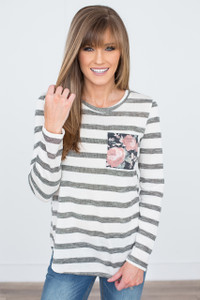 Floral Pocket Striped Top - Charcoal/Ivory/Pink