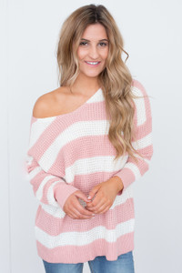 V Neck Striped Sweater - Pink/Ivory