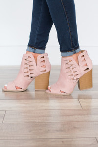 Step Into Spring Peep Toe Booties - Blush - FINAL SALE