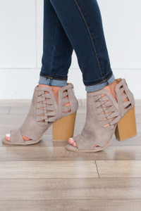 Step Into Spring Peep Toe Booties - Taupe