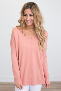 V Neck Tunic Sweater - Coral  - FINAL SALE