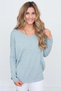 V Neck Tunic Sweater - Light Blue