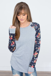 Floral Sleeve Raglan Top - Heather Grey
