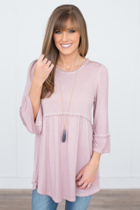 3/4 Sleeve Babydoll Tunic - Dusty Pink