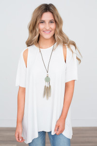 Cut Out Sleeve Detail Tunic - Ivory - FINAL SALE
