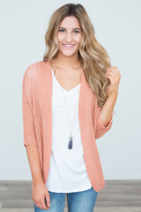 Lightweight Open Front Cardigan - Coral