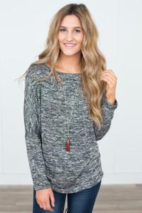 Knit Dolman Tunic - Heather Black