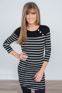 Nautical Stripe Tunic Dress - Black/White