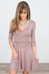 Wrap Front Tie Waist Dress - Mocha