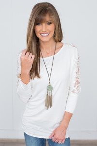 Lace Sleeve Tunic - Off White