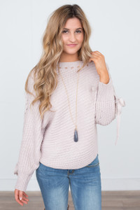 Braided Sleeve Sweater - Dusty Pink - FINAL SALE
