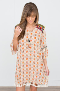 Serene Printed Peasant Dress - Beige