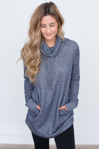 Cowl Neck Drawstring Tunic - Navy - FINAL SALE