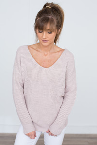 Knot Back Ribbed Sweater - Dusty Pink