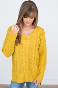 Cable Knit V Neck Sweater - Mustard