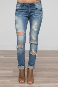 Destructed Skinny Jeans - Medium Wash