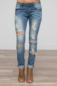 Destructed Skinny Jeans - Medium Wash