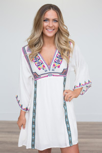 Tribal Print Embroidered Dress - Cream - FINAL SALE