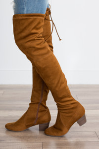 Over the Knee Faux Suede Boot - Tan
